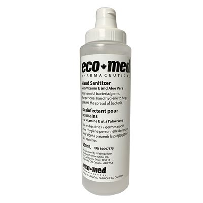 Eco-Med Hand Sanitizer, 250 ml (8.5 oz), with flip cap, Bottle