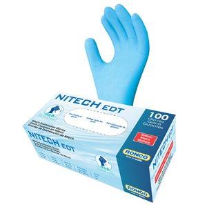 RONCO NITECH Examination Gloves, Powder Free, Medium, (100 Gloves per Box)