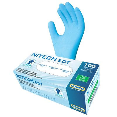 RONCO NITECH Examination Gloves, Powder Free, Large, Each