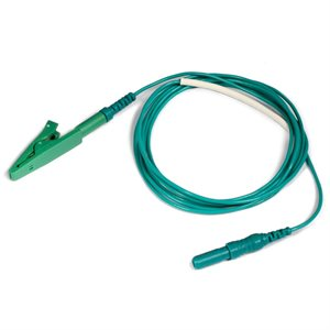 """KING Electrode Lead Cable 1.5 mm Female TP conn. to Alligator Clip Length 36"""" (91cm), Green, Qty 1"""
