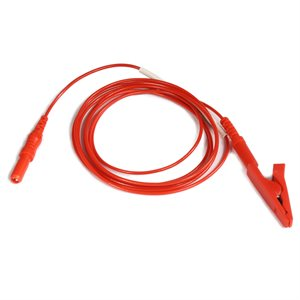 """KING Electrode Lead Cable 1.5 mm Female TP Conn. to Alligator Clip Length 60"""" (152 cm), Red, Qty 1"""