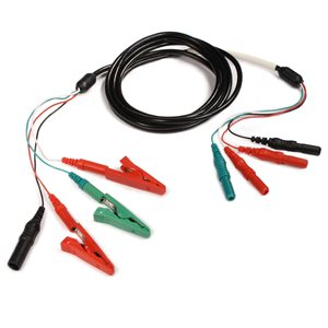 """KING Acq. Cable 4 Female 1.5mm TP Conn. Rx2, G, B, to 3 Alligator Clips Rx2, G, 1 Male TP Conn. 48"""""""
