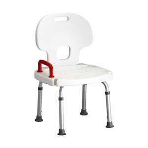 NOVA Bath Bench w/Back with Red Safety Handle Qty 2