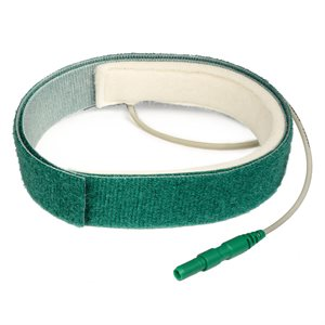 TECHNOMED Ground Electrode w/Hook & Loop Strap, Adult, Green, 2m (80 in.) PU Wire, Green, Qty 1